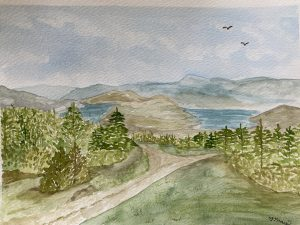 Watercolour of the view from Fairhaven.